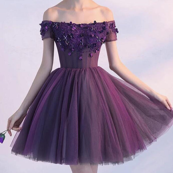 Beautiful Purple Off Shoulder Homecoming Dress 2020, Short Prom Dress