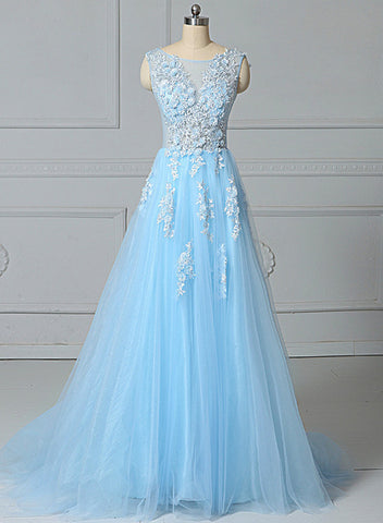 light blue tulle long party dress