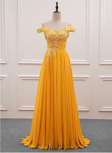 Beautiful Yellow Off Shoulder Long Party Dress, Sweetheart Formal Dress