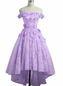 Adorable Lace Light Purple High Low Homecoming Dress, Cute Sweetheart Prom Dress