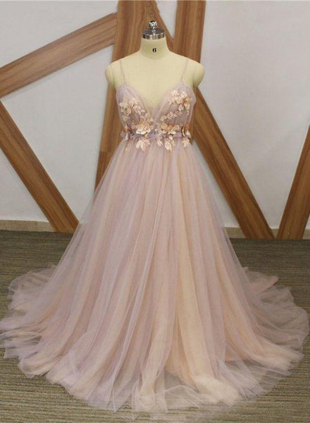 Pink Floral Straps V-neckline Charming Long Prom Dress, Light Pink Party Dress
