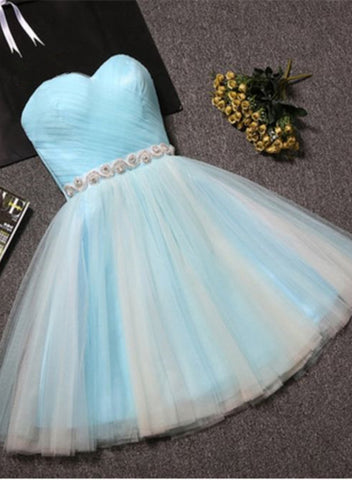 Cute Sweetheart Baby Blue Tulle Knee Length Party Dress, Tulle Formal Dress 2019