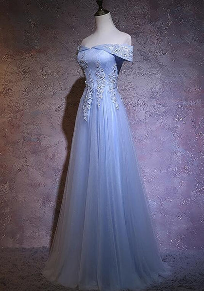 Charming Blue Floral Tulle Lace Party Gown, Off Shoulder Long Prom Dress 2020