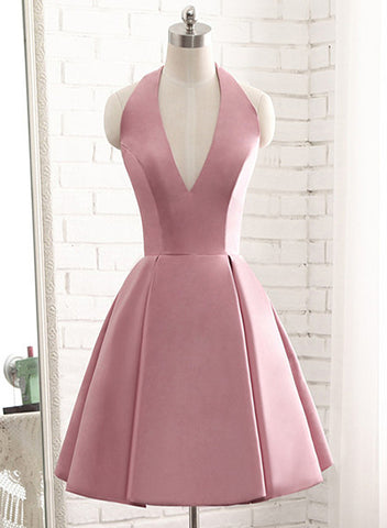 pink satin short party dress