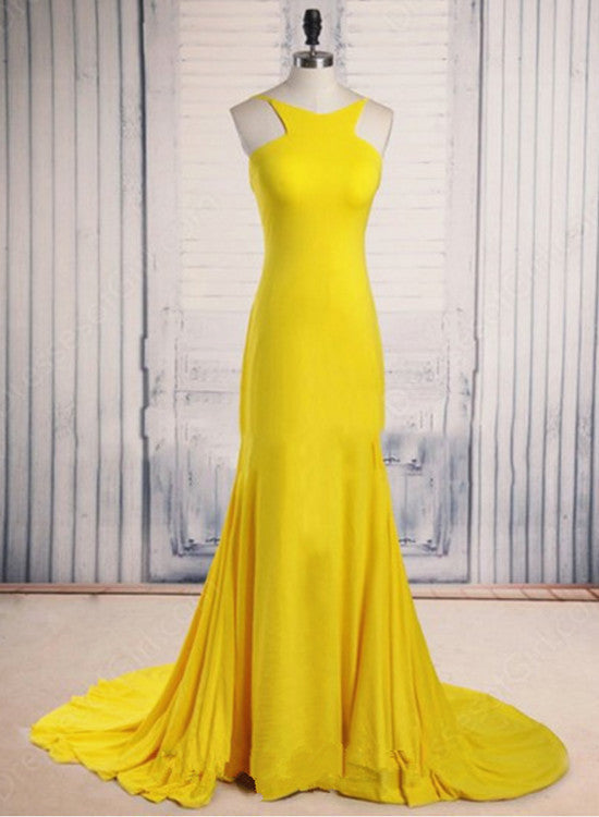 Sexy Yellow Scoop Neck Court Train Ruffles Backless Prom Dress, Junior Prom Dresses