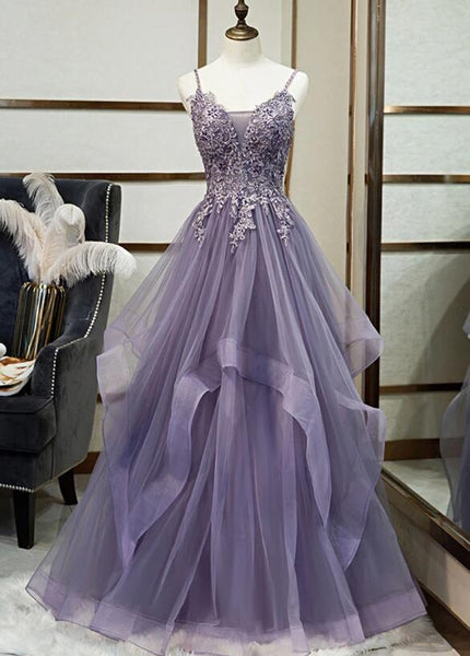 Purple Tulle Layers Long Formal Gown, Lace Applique Top Party Dress
