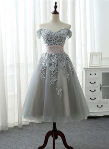 Beautiful Grey Tea Length Formal Dress with Lace, Grey Bridesmaid Dress