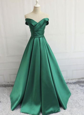Green Off Shoulder Fashionable Long Evening Dress, Satin Long Prom Dress