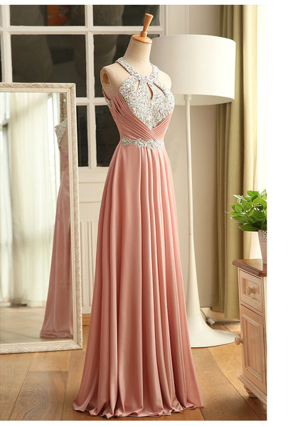 pink satin long party dress 2020
