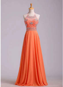 Charming Orange Halter Prom Dress Beaded Bodice,  Chiffon Long Party Dress