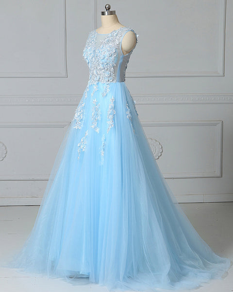 Beautiful Light Blue Tulle Long Party Gown, New Prom Dress 2020