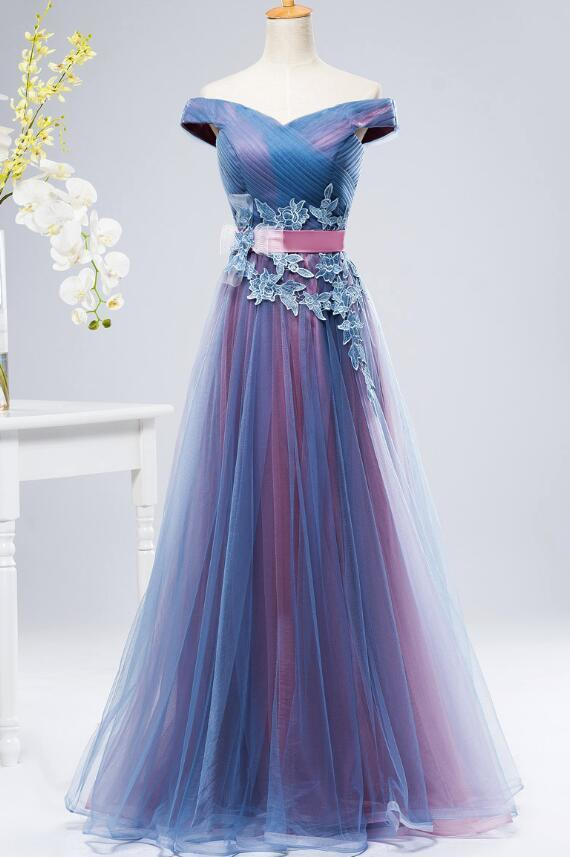 blue and pink gown