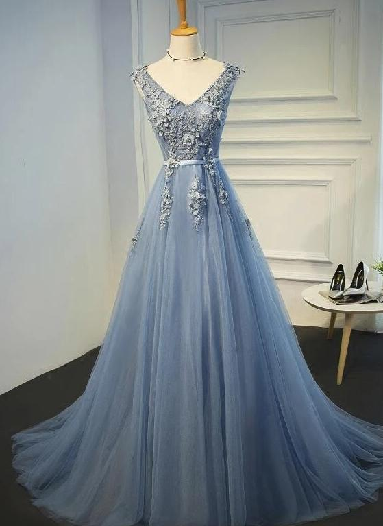 Charming Blue-Grey Tulle V Back Party Dress, Sexy Prom Dress