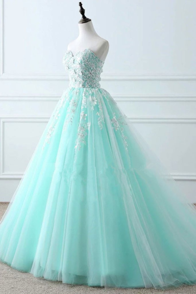 Charming Mint Green Tulle Ball Gown Sweet 16 Dress, Lace Applique Prom Dress