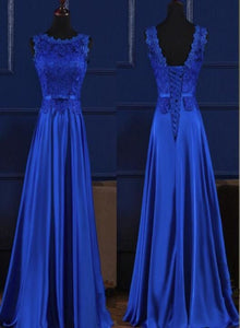 Elegant Blue Lace Round Neckline Satin Prom Dress, New Party Gown 2020
