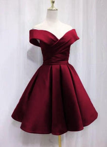 Dark Red Satin Knee Length Bridesmaid Dress, Sweetheart Off Shoulder Party Dress