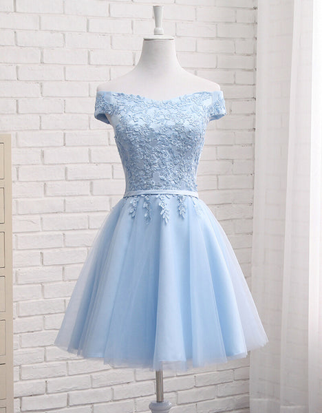 Lovely Off Shoulder Short Party Dress, Cute Homecoming Dress 2020