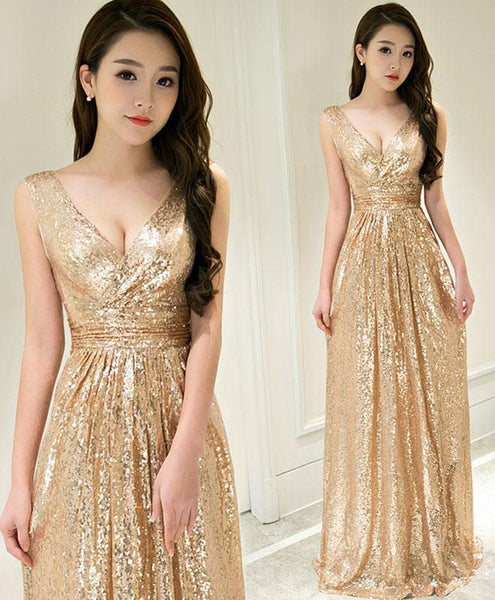 Gold Sequins A-line Long Bridesmaid Dress 2019, Handmade Formal Dress