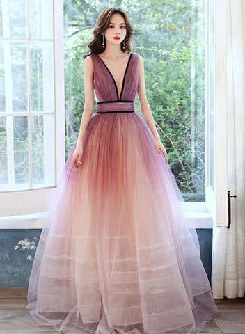 Beautiful Tulle Gradient V-neckline Long Party Dress, A-line Prom Dress New Evening Dress