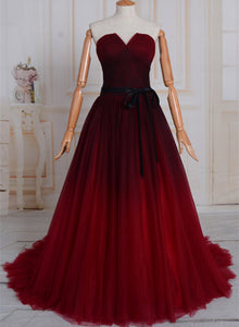 Uniuqe Black and Red Gradient Tulle Prom Dress, A-line Long Evening Gown