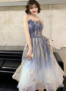 Lovely Blue-Purple Gradient Short Tulle Party Dress, Short Homecoming Dress Party Dress