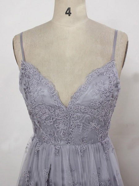 Charming Grey Lace Evening Party Dress 2019, High Quality Formal Gown