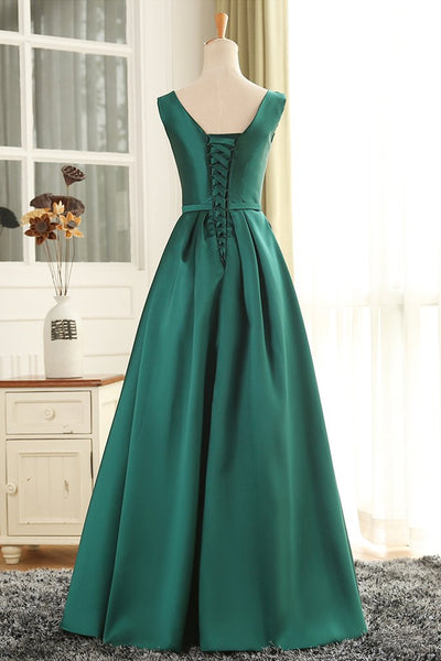 Long Green Satin A-line Wedding Party Dress, Green Formal Dress