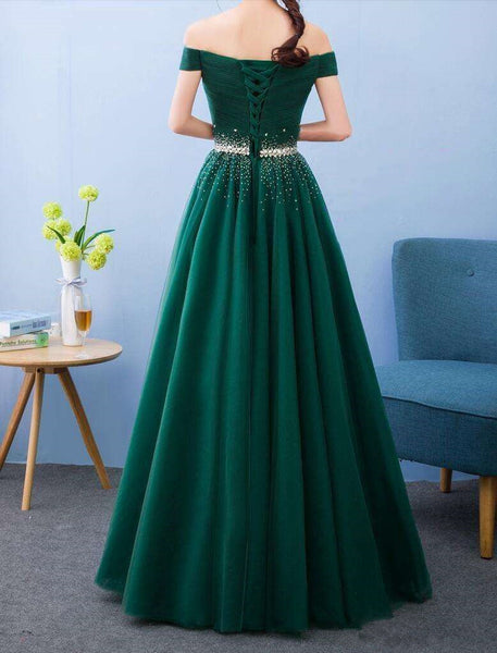 Green Beaded Off Shoulder Long Party Dress, Tulle A-line Evening Dress