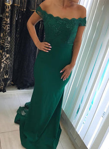 Charming Green Lace Off Shoulder Mermaid Party Dress, Green Bridesmaid Dress