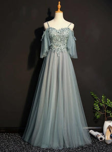 Light Green Tulle A-line Off Shoulder Party Dress, Long Prom Dress