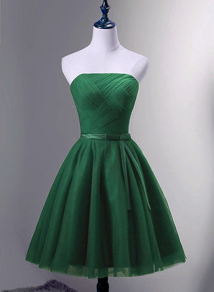 Green Simple Tulle Short Homecoming Dress, Green Short Prom Dress