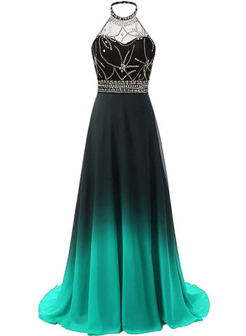 Green and Black Gradient Long Evening Prom Dress, Wedding Party Gowns