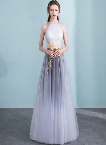 Beautiful Grey Gradient Halte Tulle Prom Dress, Fashionable Party Dress
