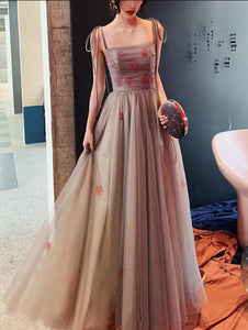 Grey Tulle A-line Straps Long Flowers Party Dress, Grey Floor Length Evening Dress Prom Dress