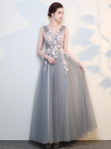 Charming Grey Tulle Long Prom Dress with Pink Flowers, A-line Evening Dress Formal Dress