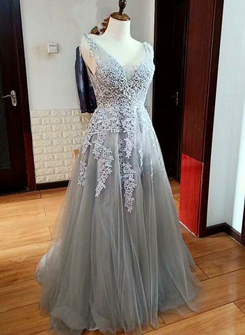 Grey V-necline Backless Lace Applique Long Formal Dress, Grey Party Dress