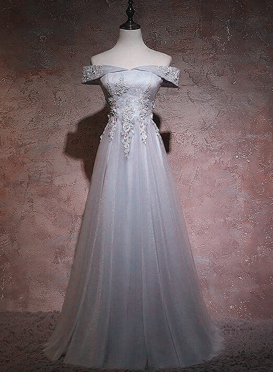 Grey V-neckline A-line Long Prom Dress with Lace, Beautiful Party Dress Bridesmaid Dress