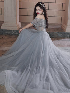 Beautiful Beaded Off Shoulder Tulle Prom Dress, A-line Grey Evening Dress Party Dress