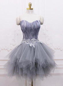 Light Grey Feather and Tulle Short Party Dress, Lovely Homecoming Dress