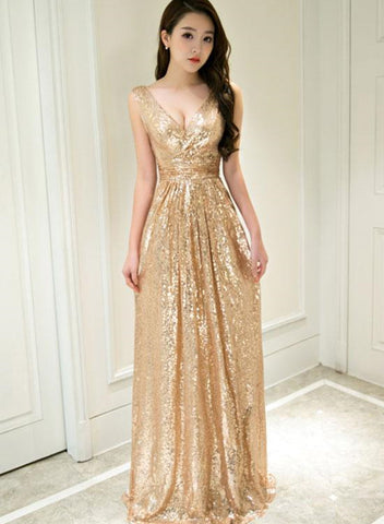 Gold Sequins A-line Bridesmaid Dress