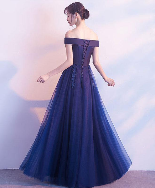 Off Shoulder Blue Party Dress, Navy Blue Long Formal Gown 2019, Prom Dress