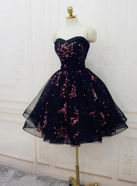 Simple Short Black Tulle Party Dress with Floral, Lovely Short Prom Dress