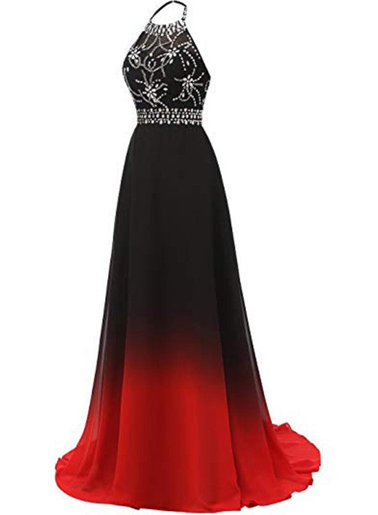 Red and Black Halter Beaded Chiffon Party Dress, A-line Gradient Evening Dress