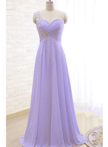 Beautiful Light Purple One Shoulder Beaded Prom Dress, Sweetheart Evening Dress