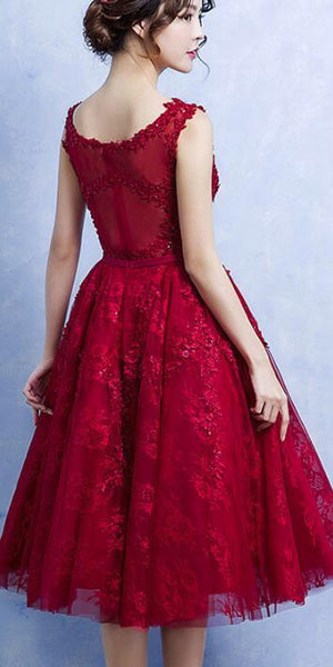 Lovely Wine Red Tulle Homecoming Dress, Short Prom Dress 2020