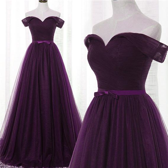 Lovely Dark Purple Tulle V-neckline Prom Dress 2020, Long Bridesmaid Dress