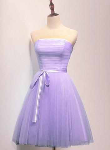 Lavender Tulle Scoop Knee Length Party Dress, Homecoming Dress Short Prom Dress