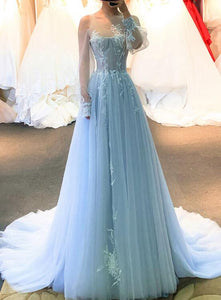 Light Blue Tulle Flowers Long Sleeves A-line Prom Dress, Blue Formal Gown