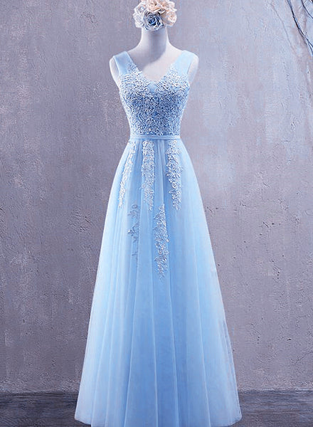 Light Blue Tulle Long Pretty Party Dress 2021, Floor Length Prom Dress, Bridesmaid Dress