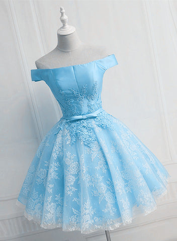 Light Blue Lace and Satin Short Party Dress, Blue Prom Dress Homecoming Dress